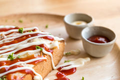 Closeup fresh homemade tuna toast slice baked bread with tomato Royalty Free Stock Photography