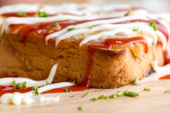 Closeup fresh homemade tuna toast slice baked bread with tomato Royalty Free Stock Photo