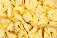 Closeup of tortelloni pasta. Closeup of fresh Italian egg tortelloni pasta Stock Image