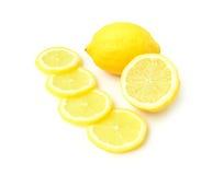 Closeup fresh lemon fruit and slice on white background Royalty Free Stock Image