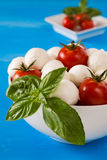 Closeup of fresh mozzarella, cherry tomatoes and basil in a bowl Royalty Free Stock Image