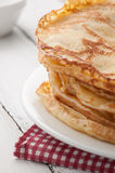 Closeup of fresh pancakes on plate Stock Photos
