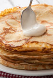 Closeup of fresh pancakes on plate Stock Photo