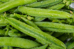 Closeup of fresh picked peas Stock Photo