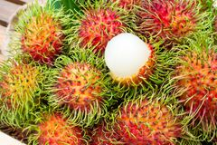 Closeup fresh rambutans in wooden box. Tropical fruit of summer royalty free stock photography