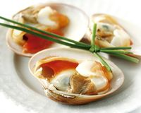 Closeup of fresh raw clams. On a plate with chive Royalty Free Stock Photo