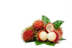 Closeup of fresh red ripe rambutan Nephelium lappaceum. With leaves isolated on white background. Thai dessert sweet fruits. Tropical fruit Royalty Free Stock Photos