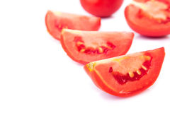 Closeup fresh red tomatoes on white background Royalty Free Stock Photography