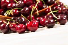 Closeup of fresh ripe black cherries Stock Photos