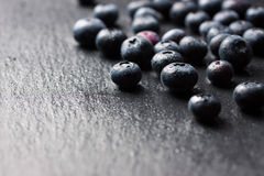 Closeup of fresh ripe blueberries on a black stone background with copy space. Selective focus Stock Photos