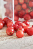 Fresh ripe cranberries. Closeup of fresh ripe cranberries on wooden background Royalty Free Stock Image