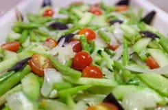 Closeup fresh salad in bufet tray Stock Photo