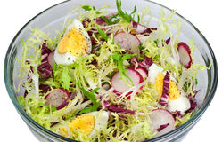 Closeup of fresh salad. Isolated. Royalty Free Stock Photos