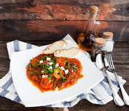 Closeup of fresh shrimp creole with bread on rustik background Royalty Free Stock Image