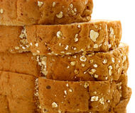 Closeup of Fresh sliced wholewheat bread with various seeds Stock Photos