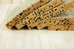 Closeup of Fresh sliced wholewheat bread with various seeds and multigrain Royalty Free Stock Photography