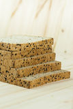 Closeup of Fresh sliced wholewheat bread with various seeds and multigrain Royalty Free Stock Photo