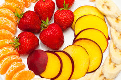 Closeup of fresh slices of fruit Stock Photography