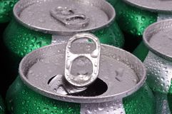 Fresh soda cans stock image