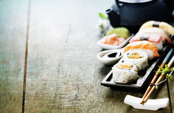 Closeup of fresh sushi Stock Images