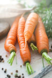 Closeup of fresh tasty carrots on a cutting board with pepper. C. Ooking or healthy life concept Stock Photo