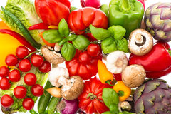 Closeup of fresh vegetables and herbs Royalty Free Stock Photo
