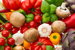Closeup of fresh vegetables and herbs Stock Images