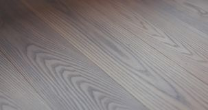 Closeup freshly applied protective oil finish to ash floor stock image