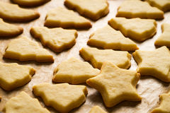 Closeup freshly baked Christmas cookies Royalty Free Stock Photos