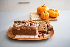 Closeup on freshly baked pumpkin bread with seeds Stock Photography