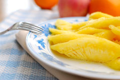 Closeup of freshly cut pineapple fruit Royalty Free Stock Image