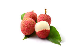 Closeup of freshly Lychee fruits. Closeup of freshly produced bunch of ripe and delicious Lychee fruits Royalty Free Stock Photos