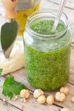 Closeup Of Freshly Made Parsley Pesto Stock Photo