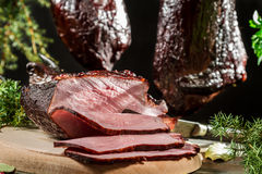 Closeup of freshly smoked ham Royalty Free Stock Photo