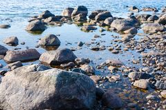 Closeup of a freshwater lake with stones