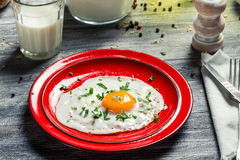 Closeup of fried egg served Royalty Free Stock Photography