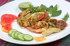 Closeup,Fried jasmine rice in green curry with mixed meat. Stock Image