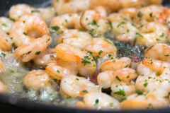 Closeup of fried shrimp with fresh herbs on a frying pan Royalty Free Stock Photography