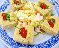 The closeup of fried stinky tofu Stock Photos