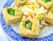 The closeup of fried stinky tofu Royalty Free Stock Photos