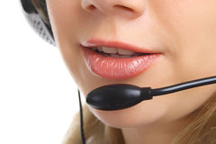 Closeup friendly customer support girl isolated Stock Image