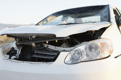 Closeup of A Front End Of Wrecked Car Stock Photo
