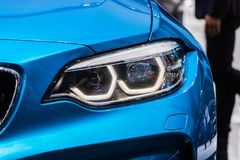 The Closeup Front Headlight car Royalty Free Stock Photography
