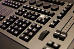 Closeup of lighting control console. Closeup of the front panel of lighting control console. Selective focus Stock Photos