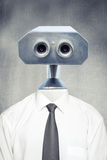 Closeup frontal portrait of vintage robot android Royalty Free Stock Photography