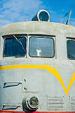 Closeup frontal view of an old diesel locomotive against the bac Stock Photography
