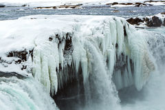 Closeup of frozen waterfall Godafoss, Iceland Royalty Free Stock Photography