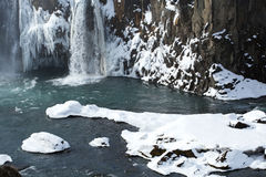 Closeup of frozen waterfall Godafoss, Iceland Stock Photo