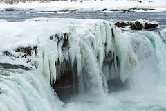 Closeup of frozen waterfall Godafoss, Iceland Royalty Free Stock Photos