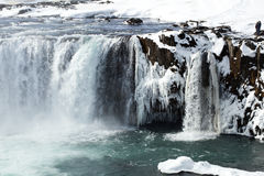 Closeup of frozen waterfall Godafoss, Iceland Stock Photography